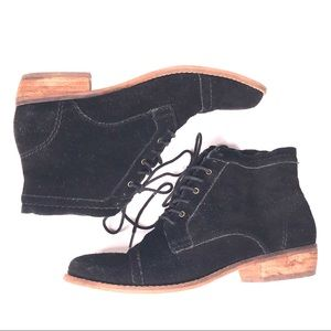 Dolce Vita Black Suede Lace Up Oxford Ankle Boots